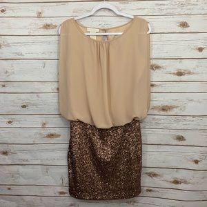 MM Couture by MISS ME Rose Gold Sequin Dress S
